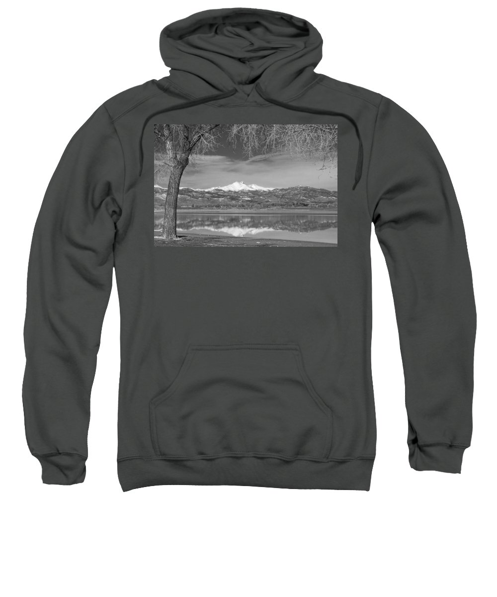 Mountains Sweatshirt featuring the photograph Twin Peaks Longs And Meeker Lake Reflection Bw by James BO Insogna