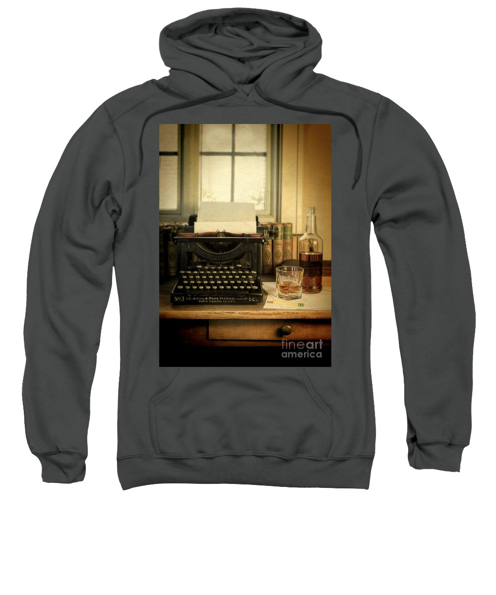 Antique Typewriter Sweatshirt featuring the photograph Typewriter And Whiskey by Jill Battaglia