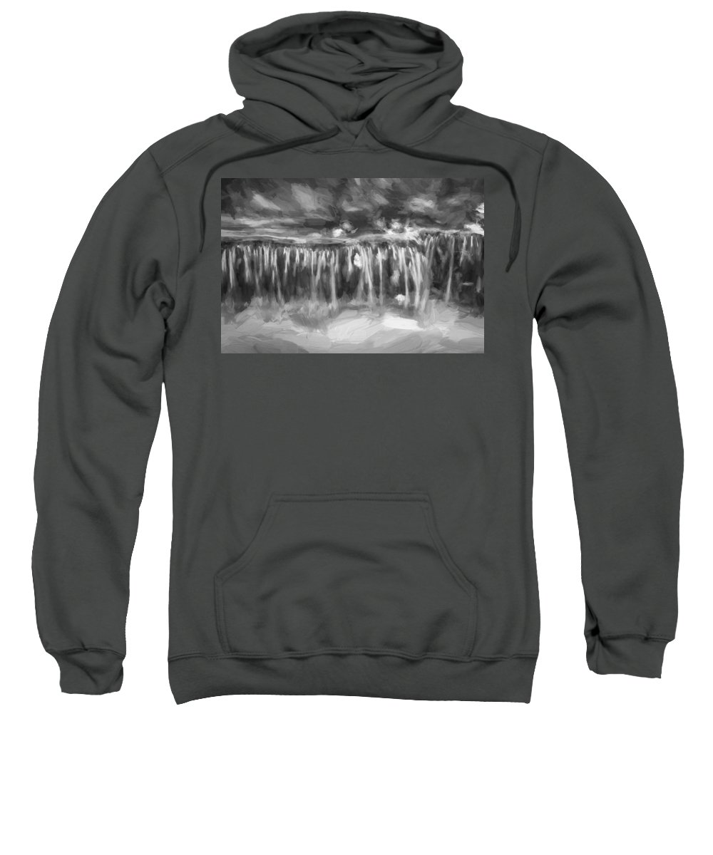 Waterfalls Sweatshirt featuring the photograph Waterfalls Childs National Park Painted Bw  by Rich Franco