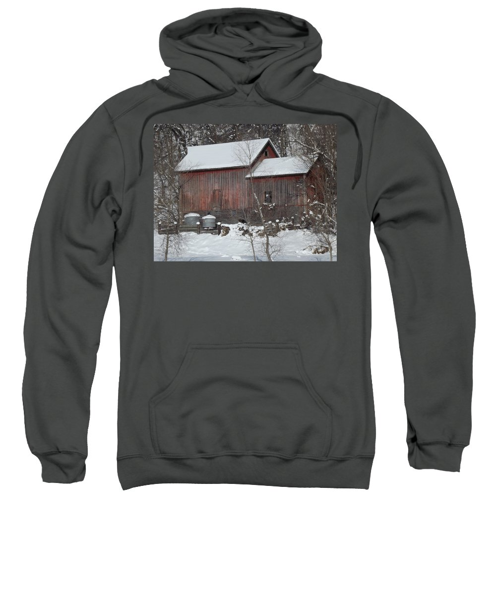 Elkader Iowa Sweatshirt featuring the photograph Winter Barn by Bonfire Photography