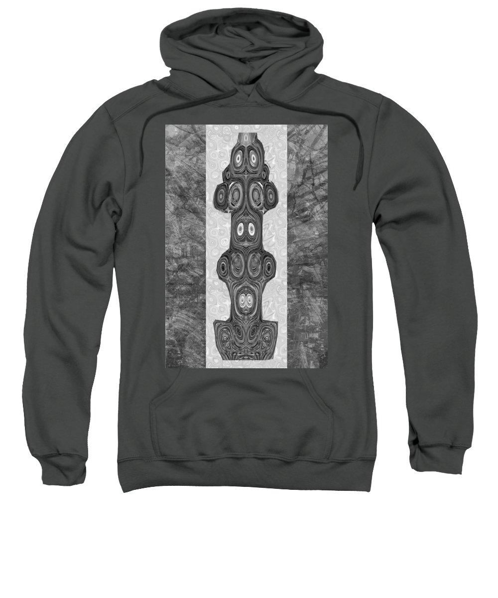 Woodcraft Sweatshirt featuring the mixed media Woodcraft Ghosts Spirits Indian Native Aboriginal Masks Motif Symbol Emblem Ethnic Rituals Display H by Navin Joshi