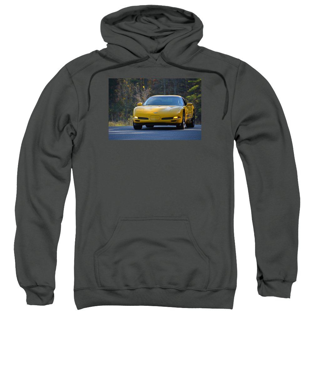 Corvette Sweatshirt featuring the photograph Yellow Corvette by Mike Martin