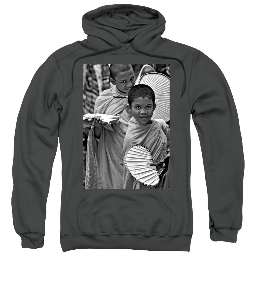 Buddhism Sweatshirt featuring the photograph Young Monks Bw by Steve Harrington