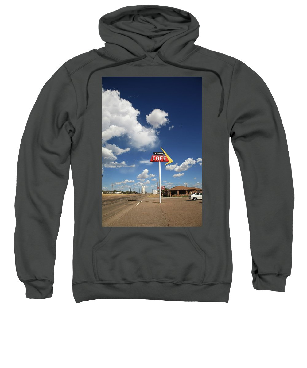 66 Sweatshirt featuring the photograph Route 66 Cafe by Frank Romeo