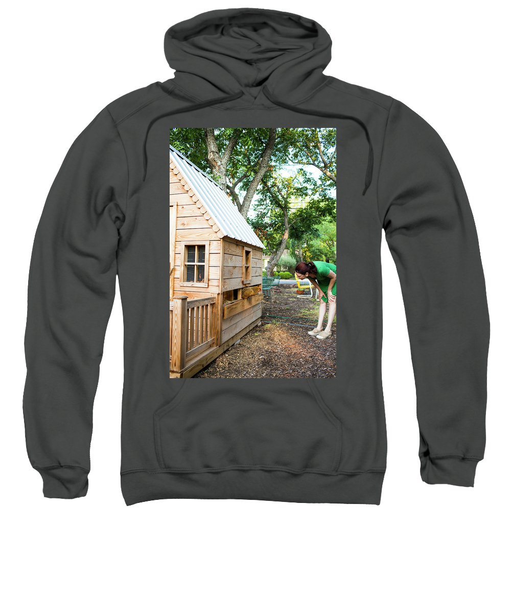 Day Sweatshirt featuring the photograph A Backyard Chicken Coop In Austin by Michael Hanson