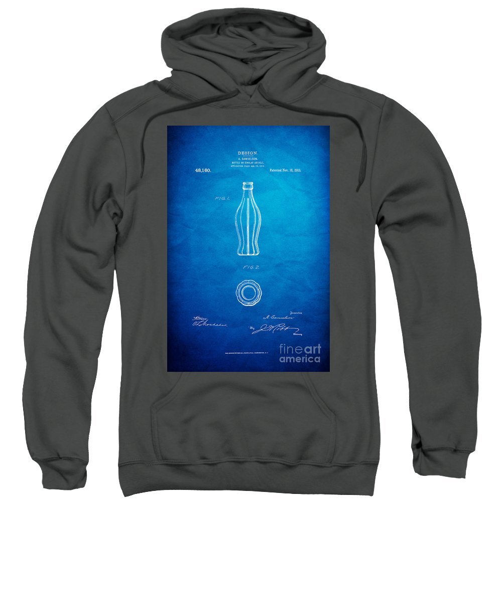 Coca Cola Bottle Patent Art Sweatshirt featuring the digital art 1915 Coca Cola Bottle Design Patent Art 7 by Nishanth Gopinathan