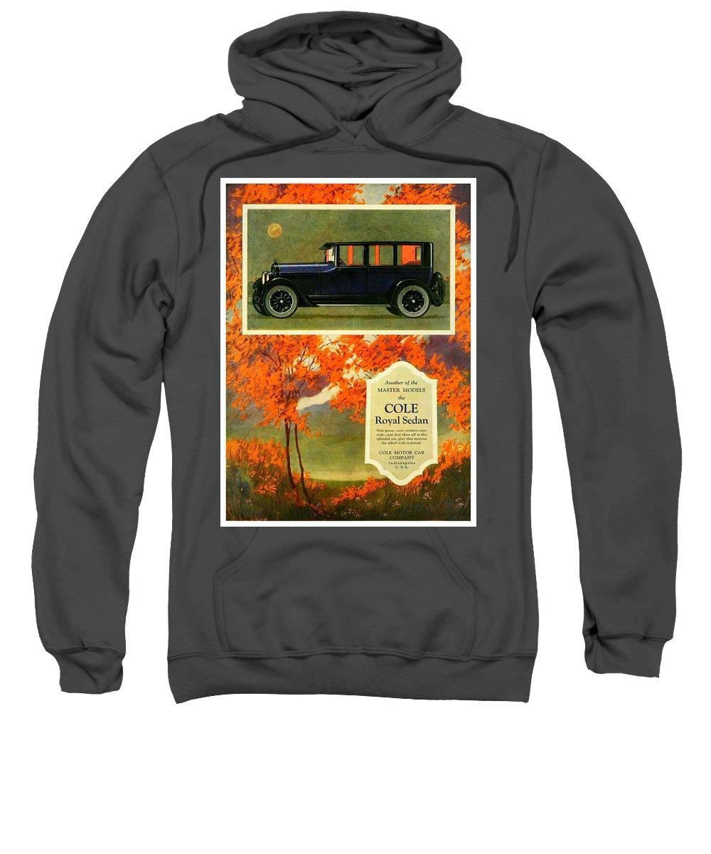 Cole Sweatshirt featuring the digital art 1923 - Cole Royal Sedan - Advertisement - Color by John Madison