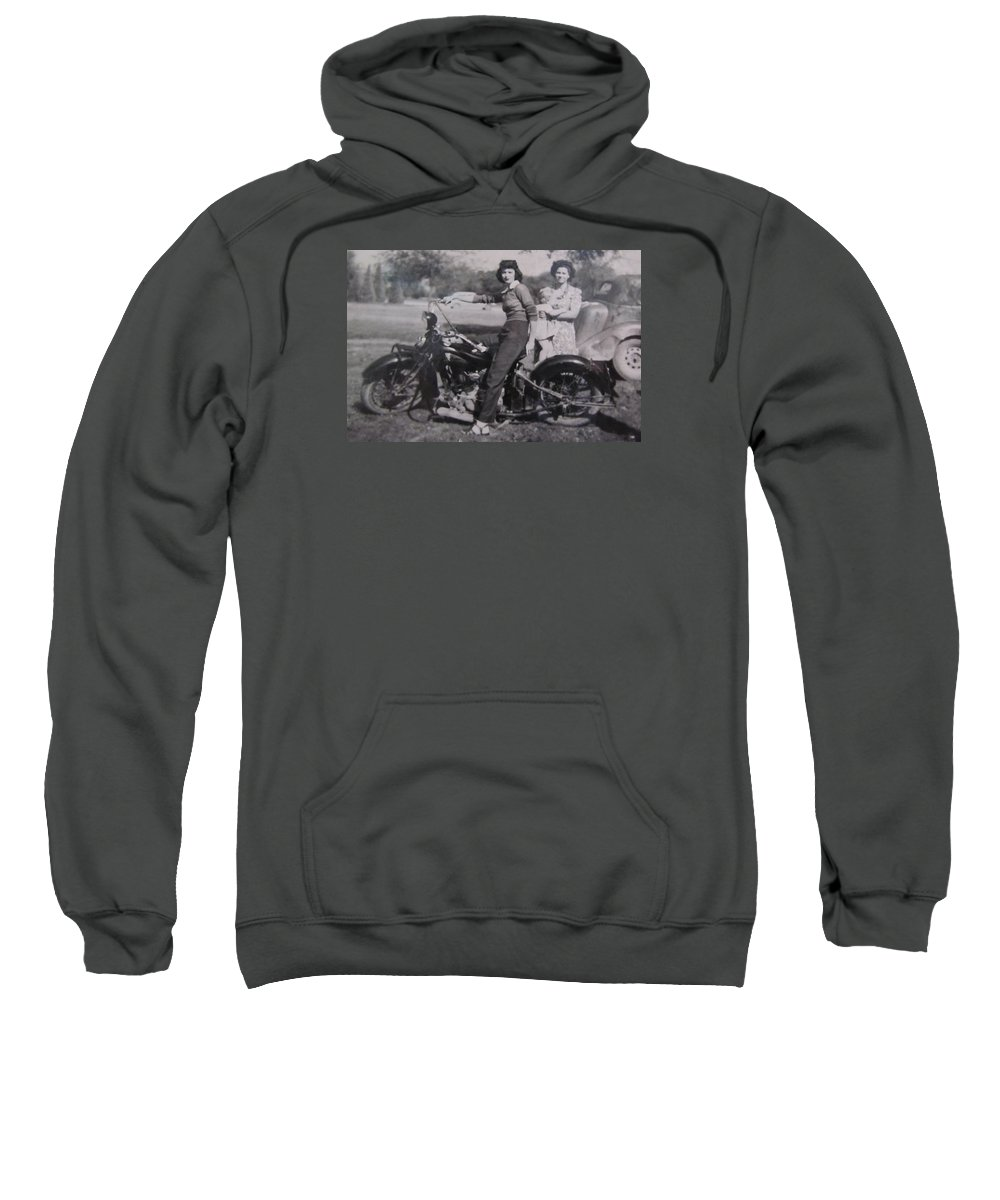 Triumph Motorcycles Sweatshirt featuring the photograph 1930's Indian Motorcycle Mama by Donna Wilson