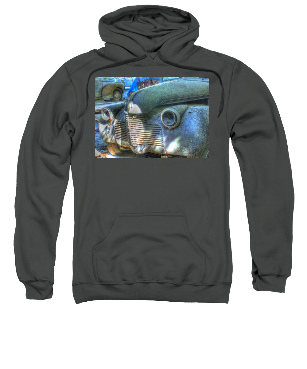 1940s Sweatshirt featuring the photograph 1940s Antique Chevrolet Hood View by Douglas Barnett