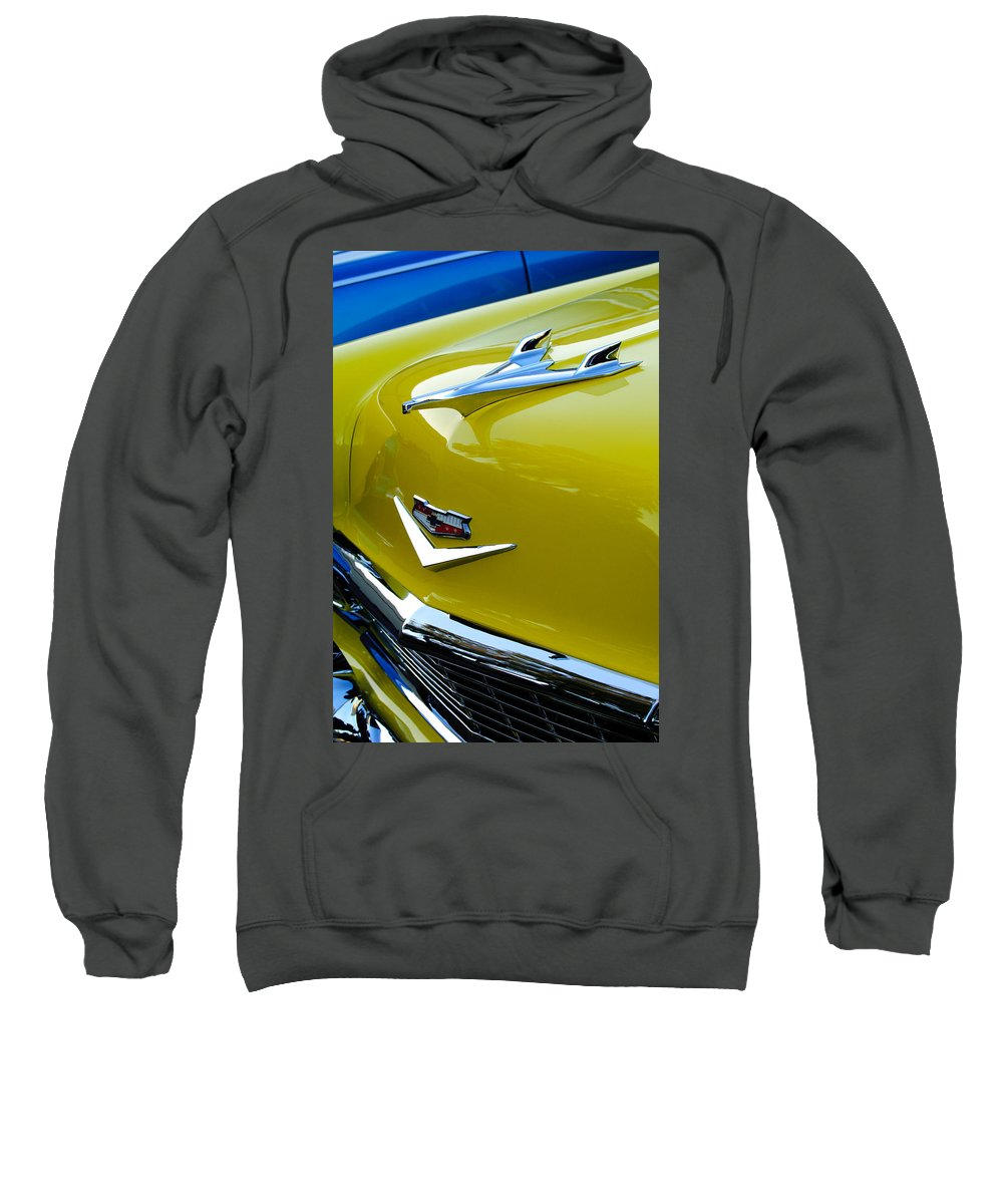 1956 Chevrolet Sweatshirt featuring the photograph 1956 Chevrolet Hood Ornament 3 by Jill Reger