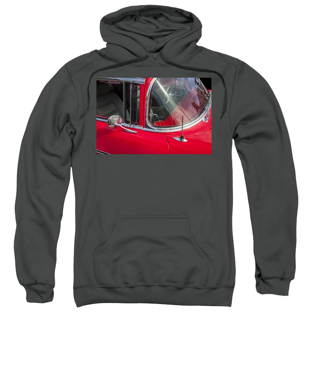 1957 Chevy Sweatshirt featuring the photograph 1957 Chevy Bel Air Chrome by Rich Franco