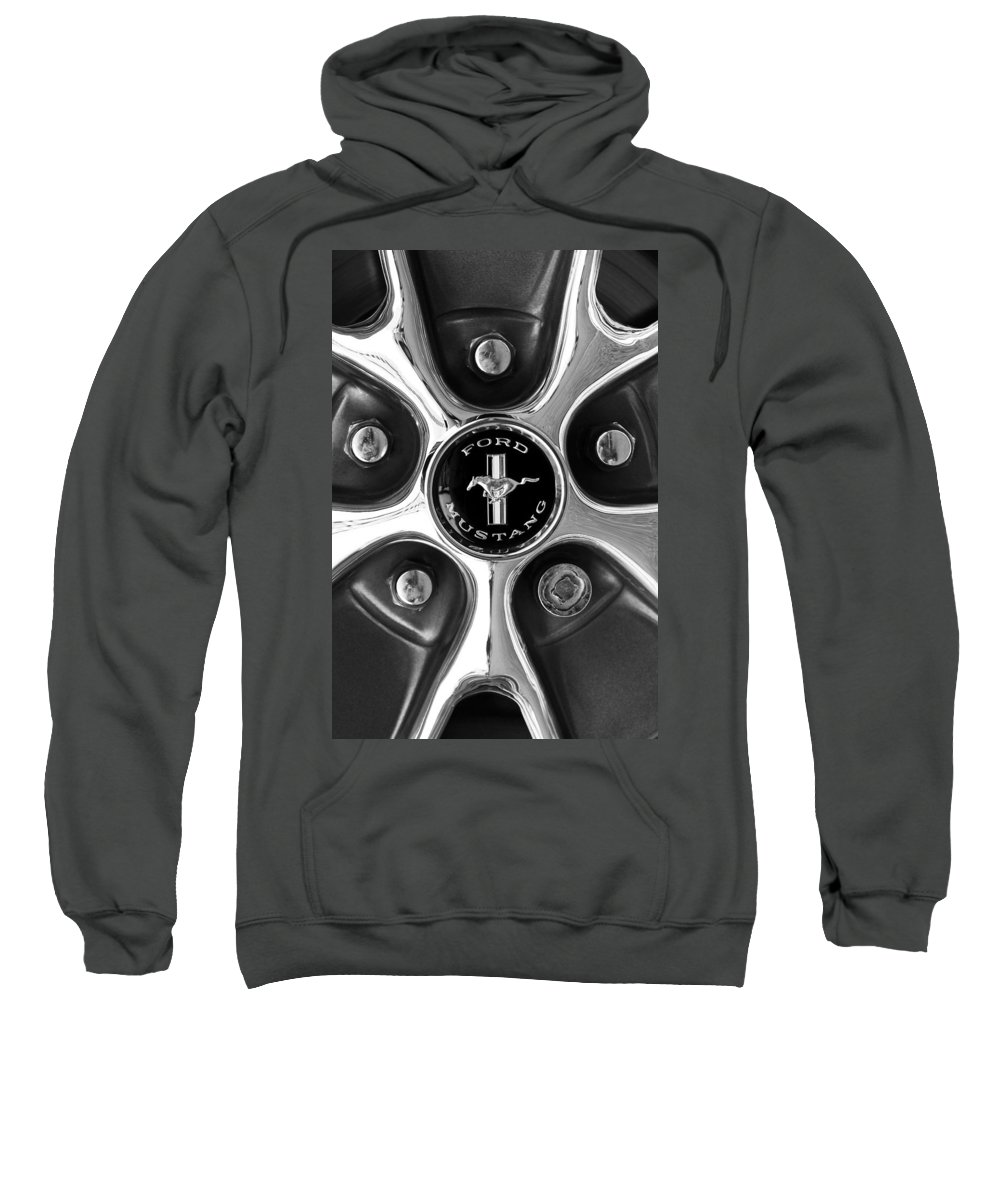 1965 Ford Mustang Gt Sweatshirt featuring the photograph 1965 Ford Mustang Gt Rim Black And White by Jill Reger