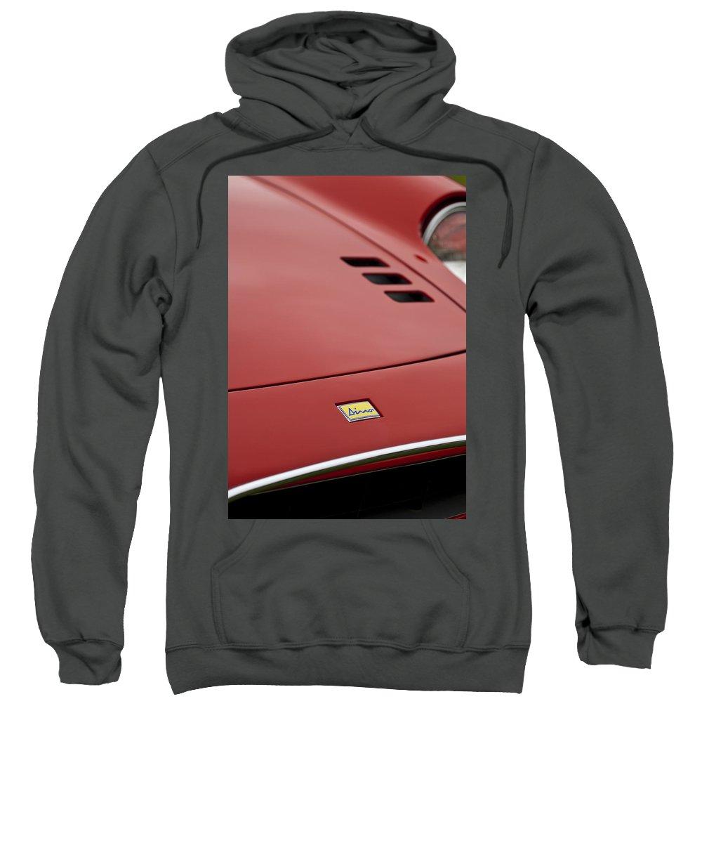 1974 Dino Sweatshirt featuring the photograph 1974 Ferrari Dino 246gts Hood Emblem by Jill Reger