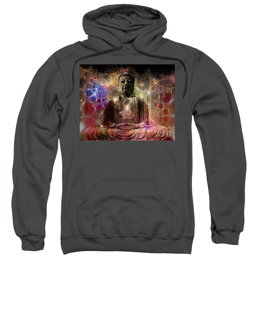 Buddha Sweatshirt featuring the digital art Cosmic Buddha by Mynzah Osiris