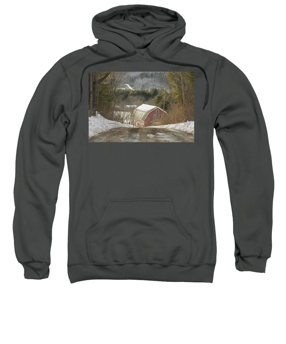 Maine Sweatshirt featuring the photograph Country Road And Barn In Winter Maine by Keith Webber Jr