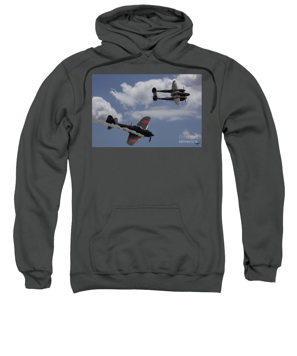 P-38 Sweatshirt featuring the digital art Down One by Tommy Anderson