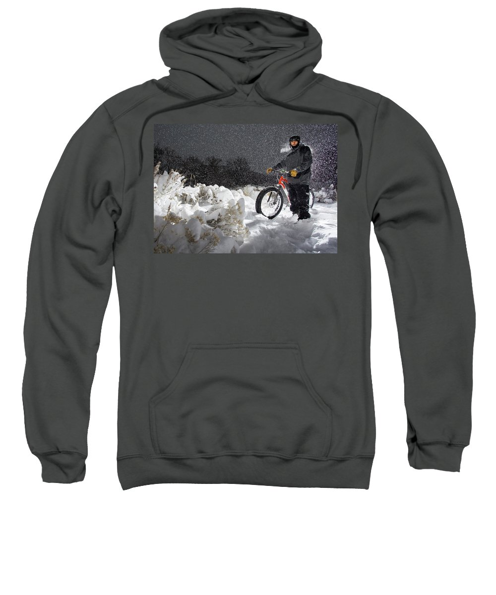 Front View Sweatshirt featuring the photograph Fat Tire Bike by Ben Girardi