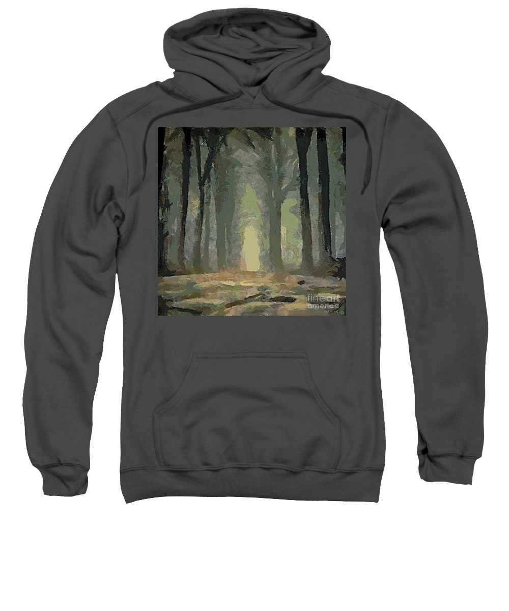 Landscapes Sweatshirt featuring the painting Foggy Day by Dragica Micki Fortuna