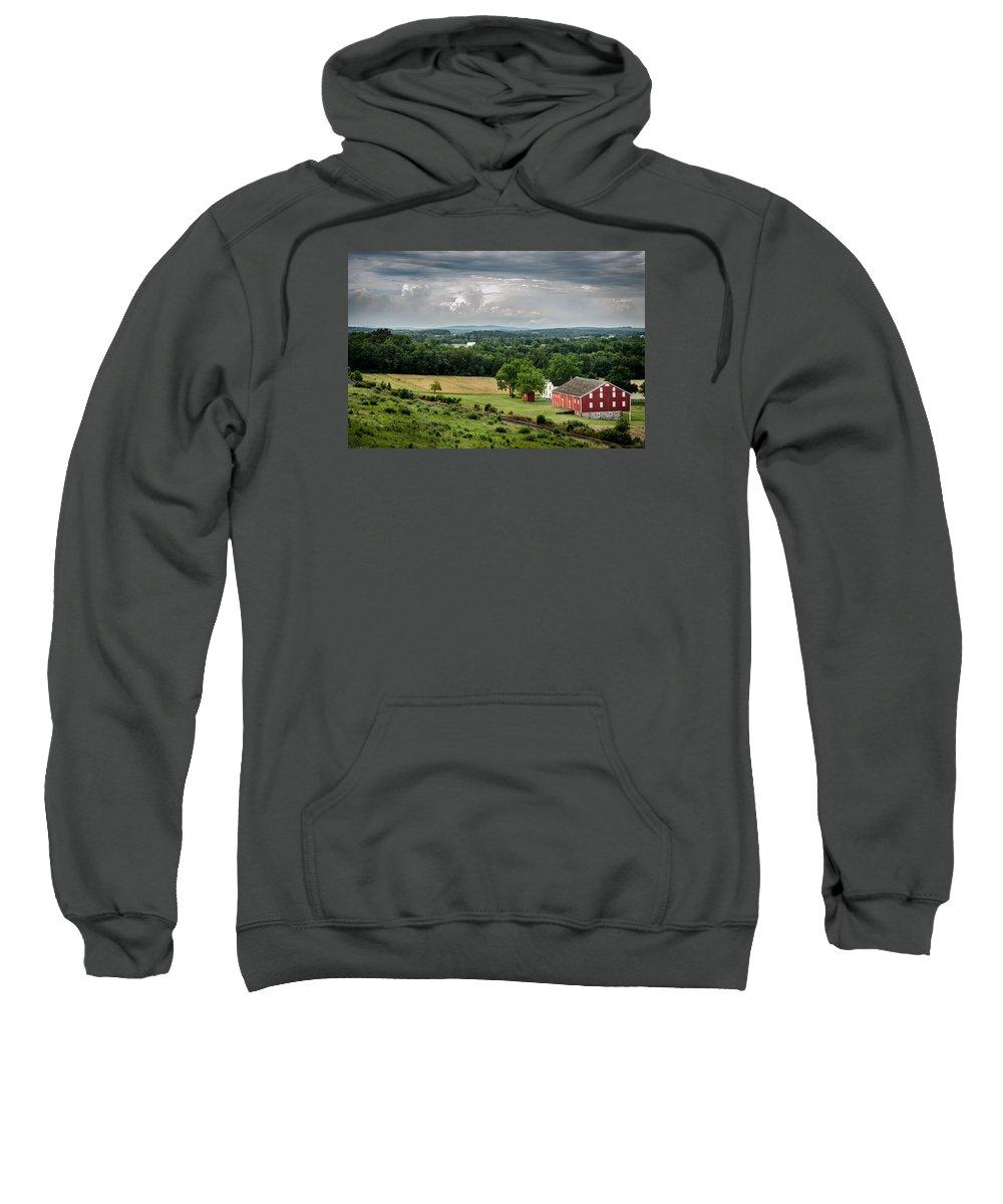 Battlefield Sweatshirt featuring the photograph Gettysburg Barn by Pat Scanlon