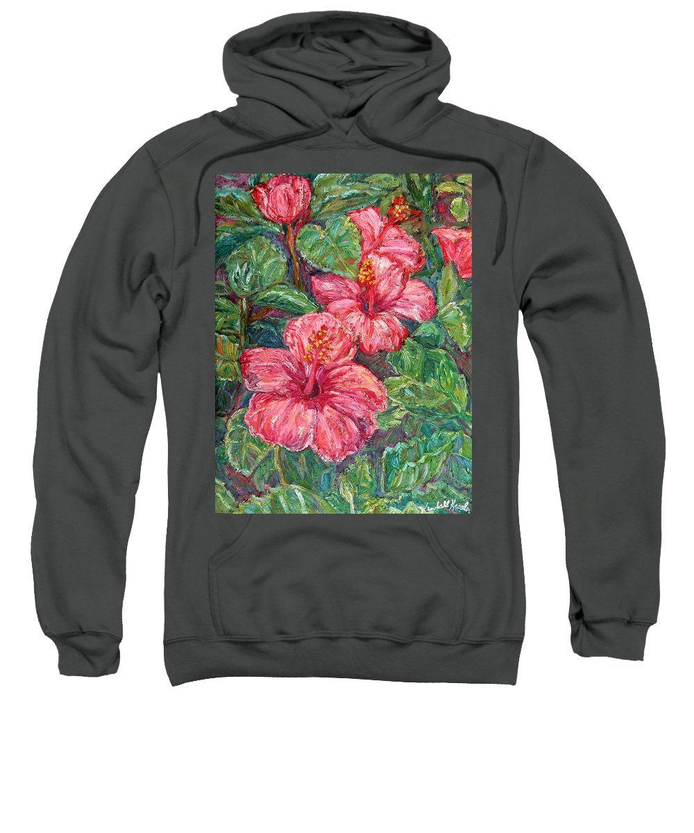 Hibiscus Sweatshirt featuring the painting Hibiscus by Kendall Kessler