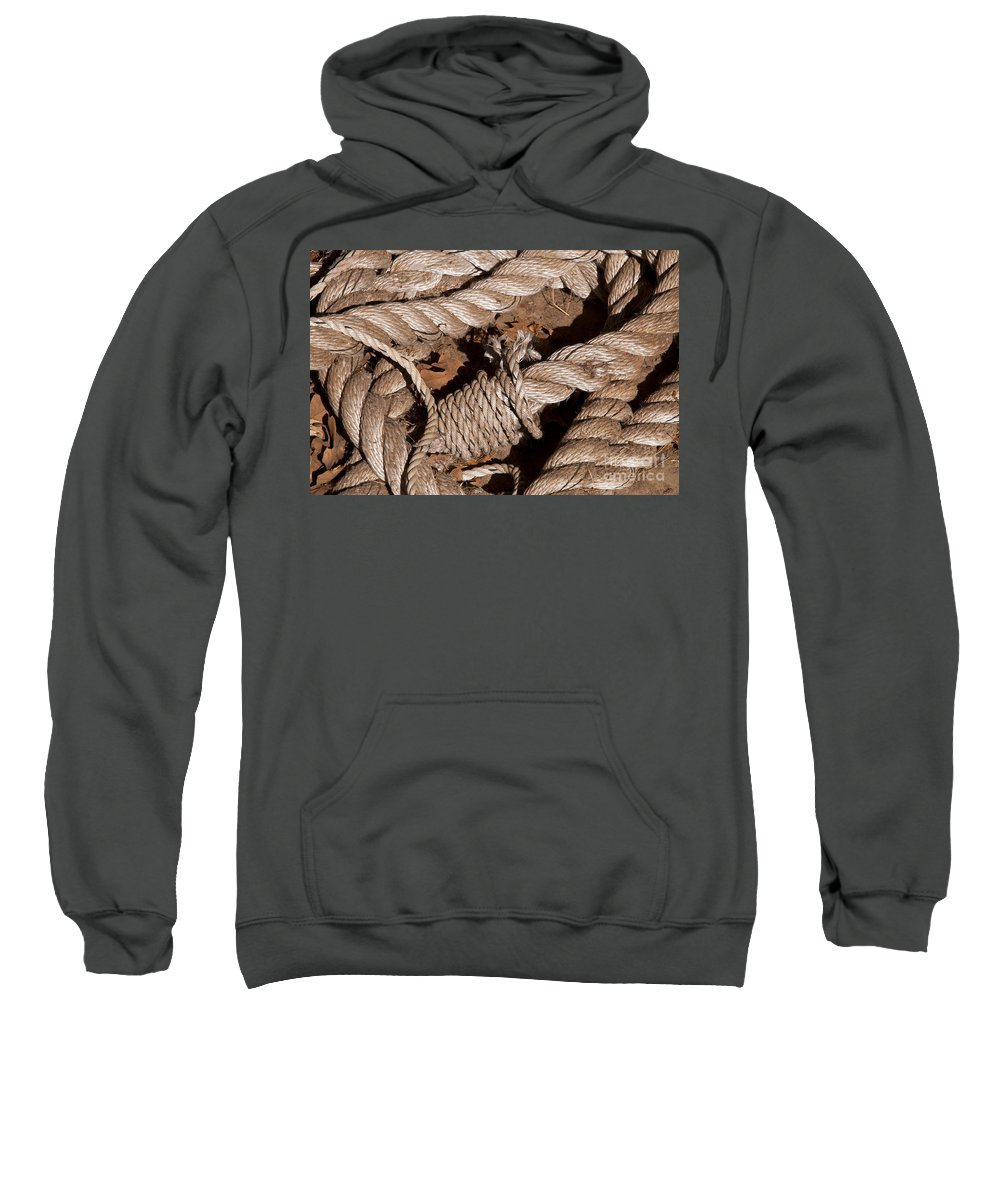 Schulenburg Texas Rope Ropes Knot Knots Texture Odds And Ends Sweatshirt featuring the photograph Knotted by Bob Phillips