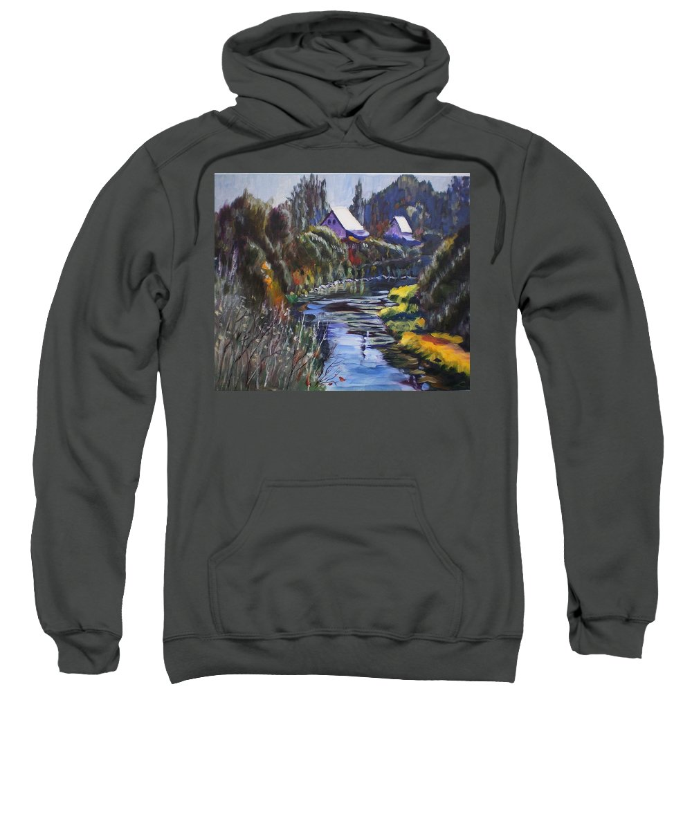 Landscape Sweatshirt featuring the painting Landscape by Elena Sokolova