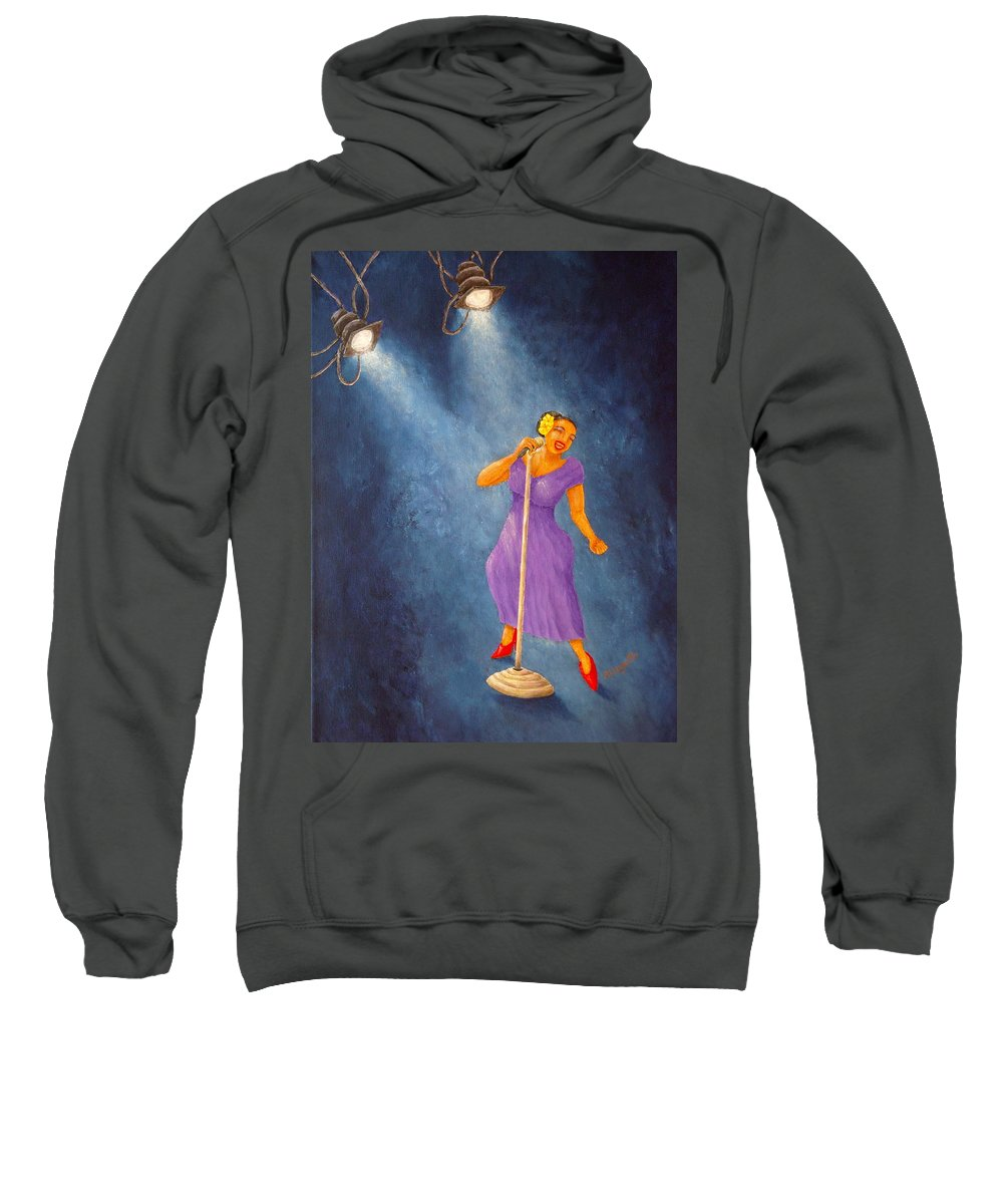 Pamela Allegretto Sweatshirt featuring the painting Latina Jazz Diva by Pamela Allegretto