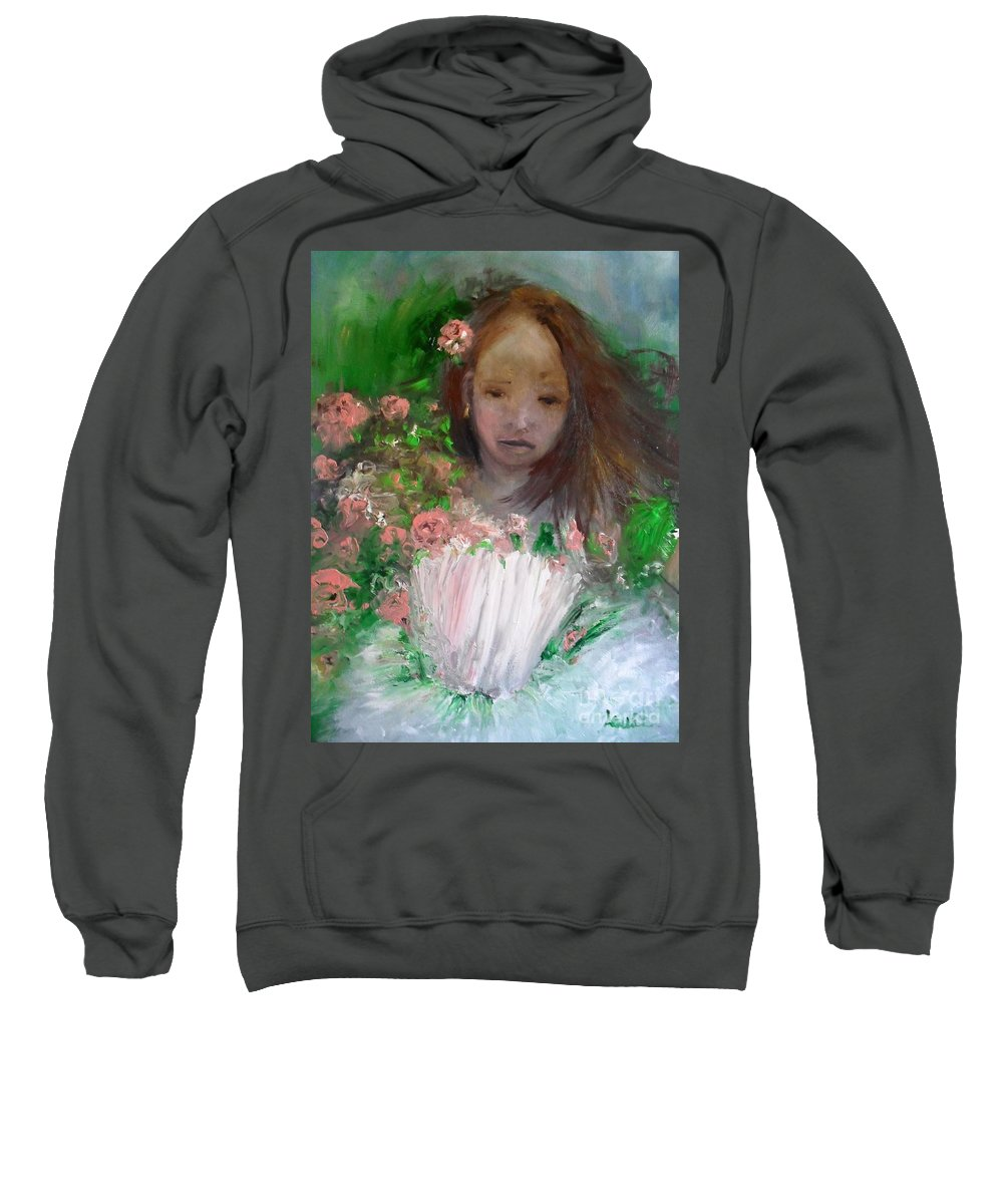 Girl Sweatshirt featuring the painting Mary Rosa by Laurie Lundquist