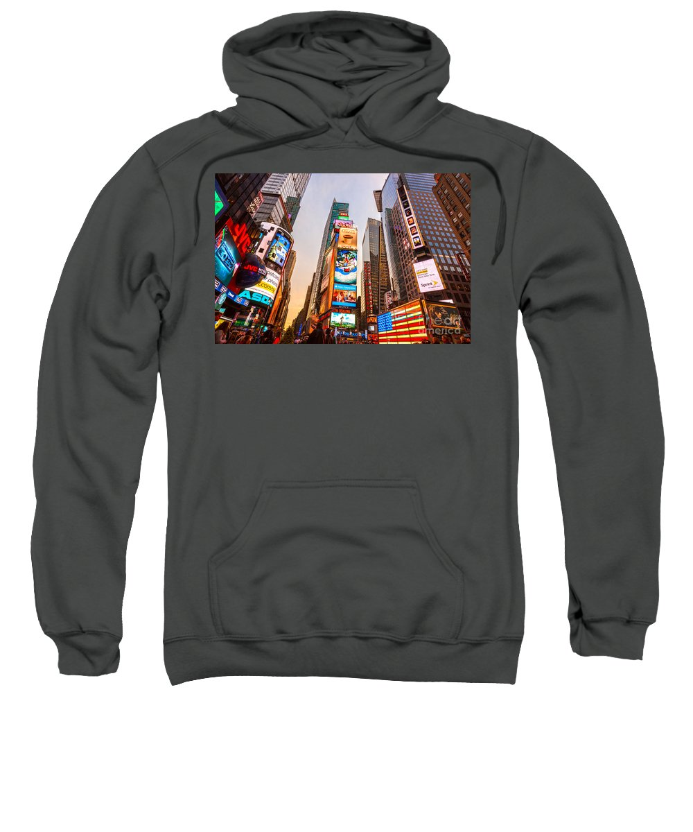 Angle Sweatshirt featuring the photograph New York City - Times Square by Luciano Mortula