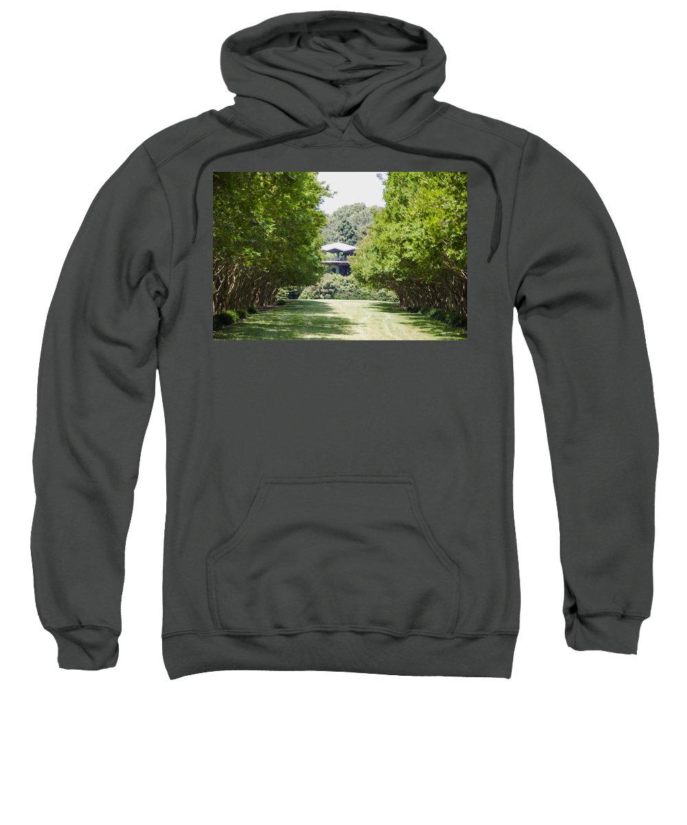 Favorite Spot In The Gardens Sweatshirt featuring the painting Norfolk Botanical Garden 1 by Jeelan Clark
