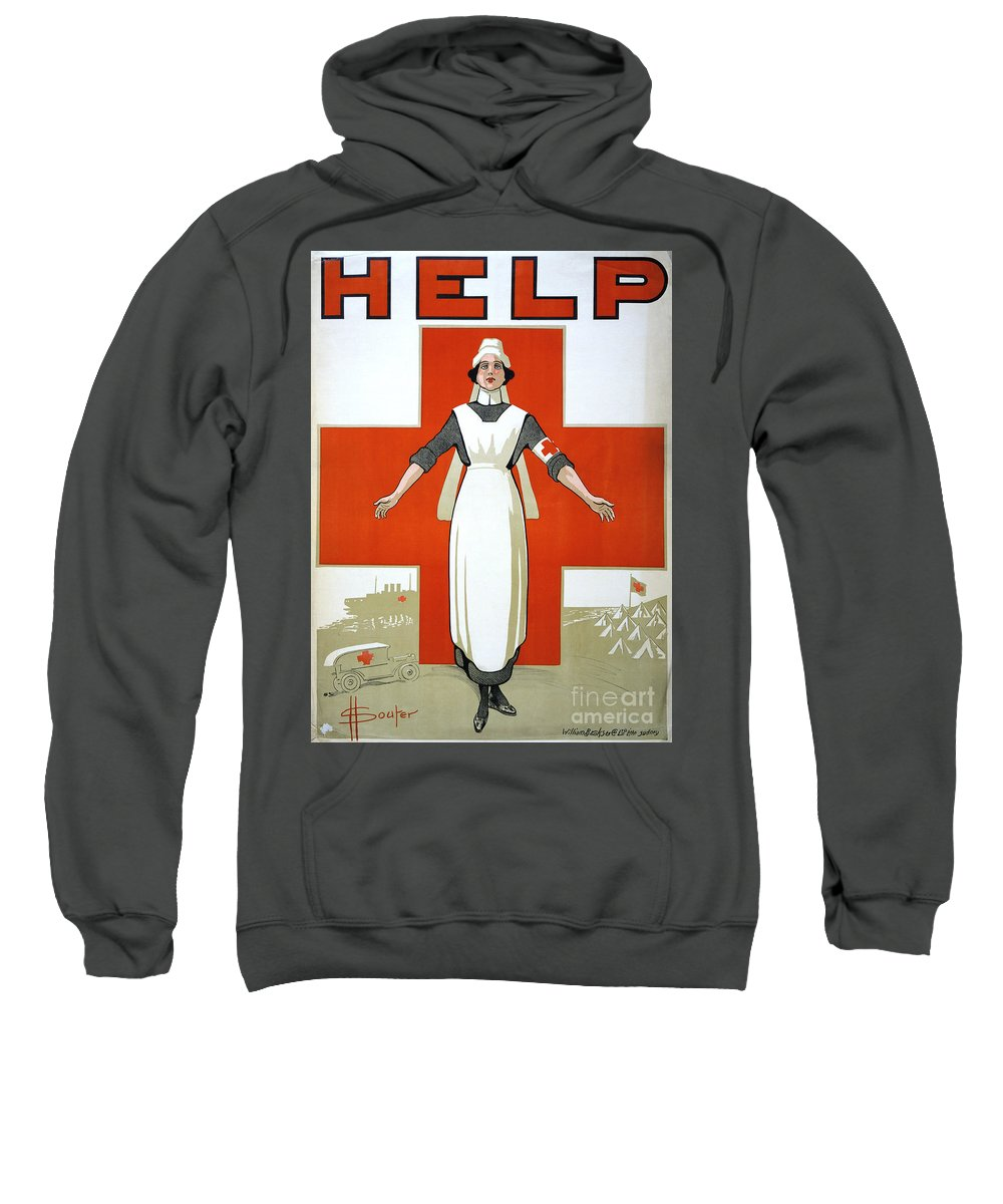 1917 Sweatshirt featuring the photograph Red Cross Poster, C1917 by Granger