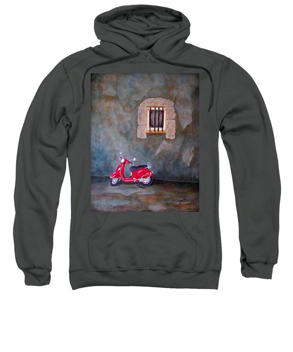 Allegretto Art Sweatshirt featuring the painting Red Vespa by Pamela Allegretto