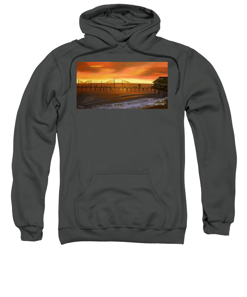 Redondo Beach Pier Sweatshirt featuring the painting Redondo Beach Pier At Sunset by Bev Conover