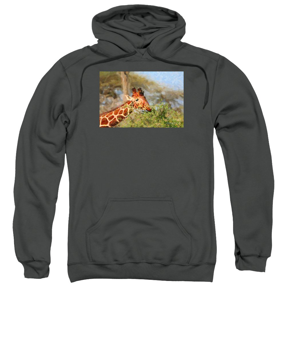 Giraffa Camelopardalis Reticulata Sweatshirt featuring the digital art Reticulated Giraffe Kenya by Liz Leyden