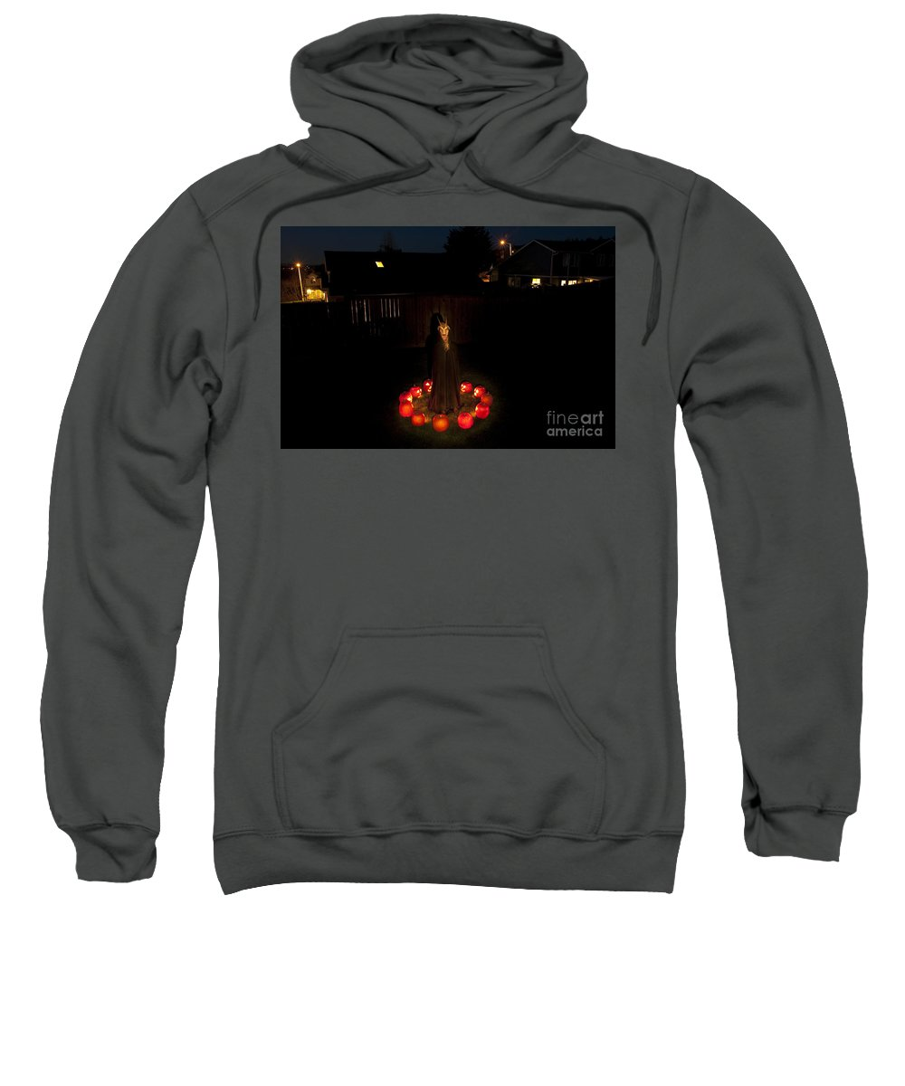 31st Sweatshirt featuring the photograph Seance Pumpkins Demon by Jim Corwin