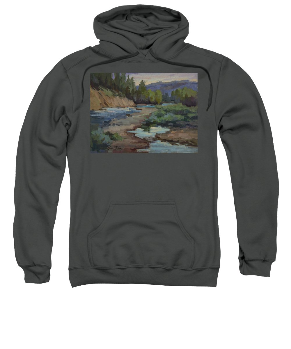 Teanaway River Sweatshirt featuring the painting Teanaway River by Diane McClary