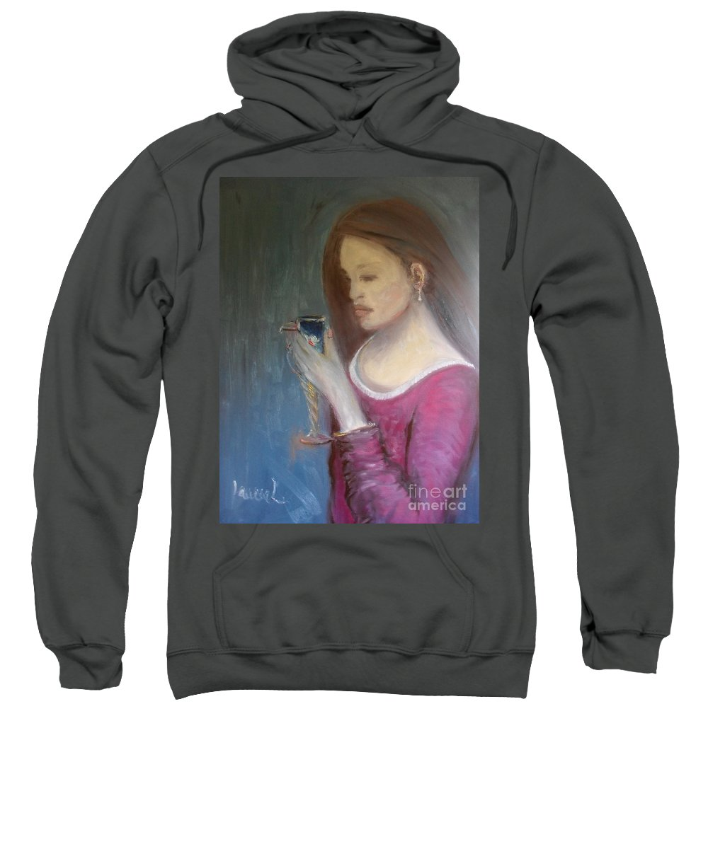 Woman Sweatshirt featuring the painting The Chalice by Laurie Lundquist