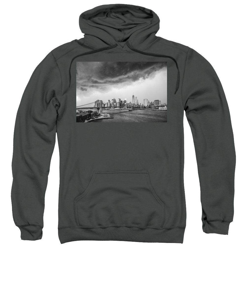 Manhattan Sweatshirt featuring the photograph The Storm Over Manhattan Downtown by Alex Potemkin