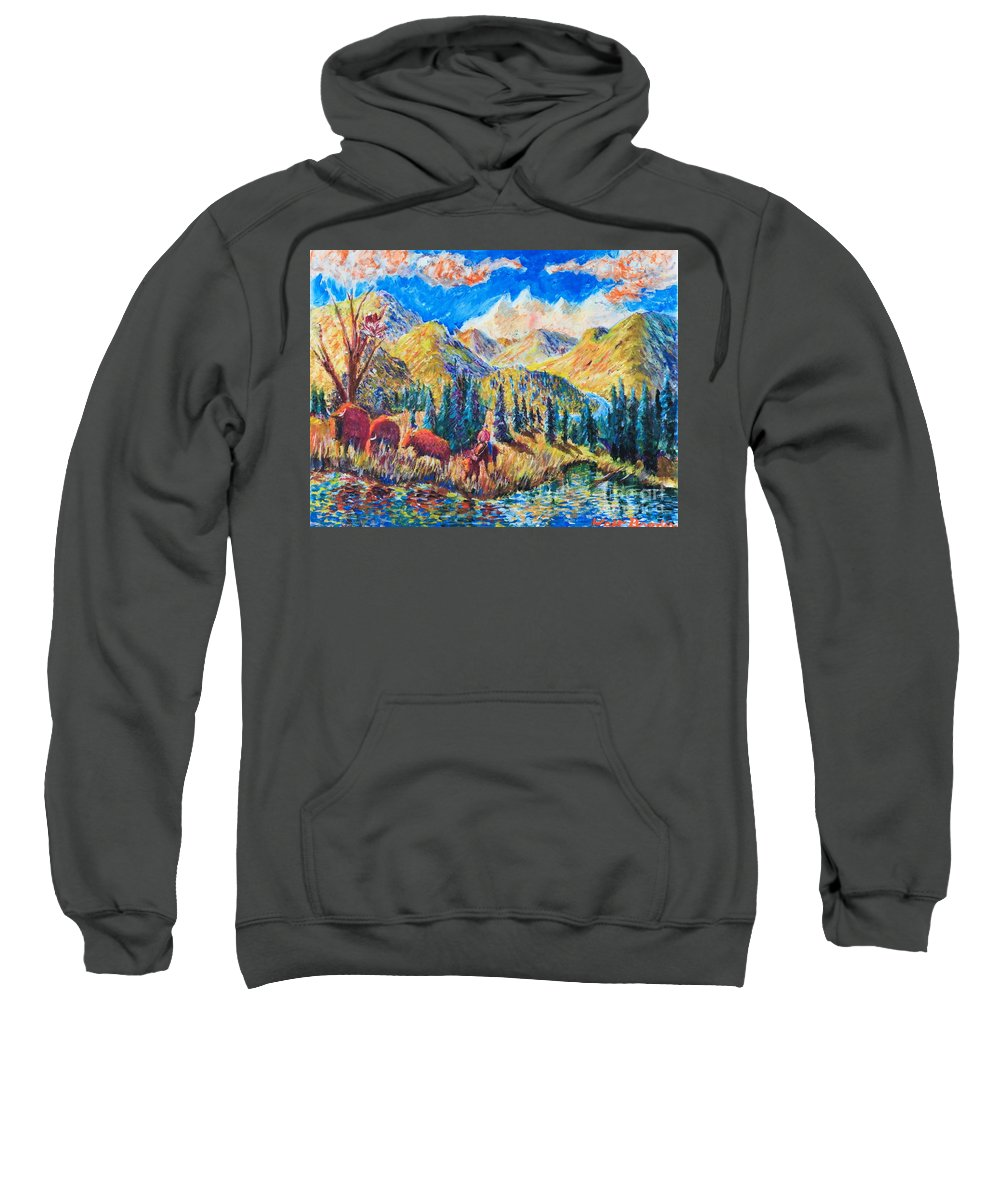 Nature Sweatshirt featuring the painting The Stray by Walt Brodis