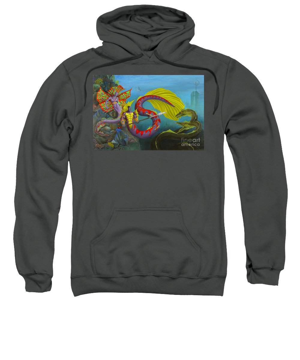 Mermaid Sweatshirt featuring the painting The Threat by Melissa A Benson