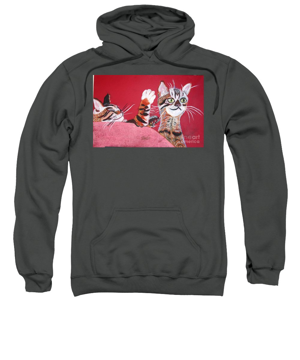 2 Bengal Cats. Red Background Sweatshirt featuring the pastel 2 Tora's by Phyllis Kaltenbach