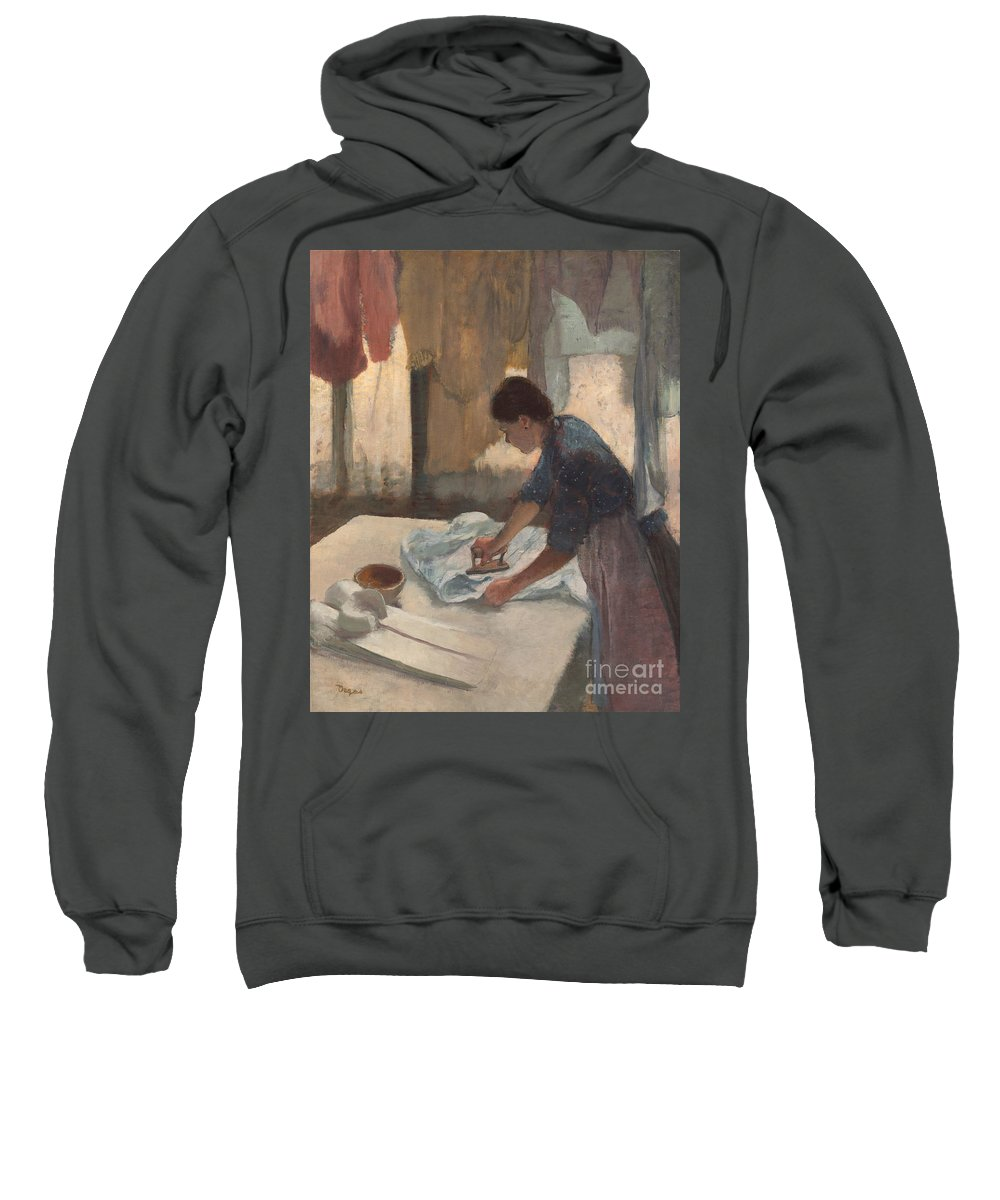 Impressionist Sweatshirt featuring the painting Woman Ironing by Edgar Degas