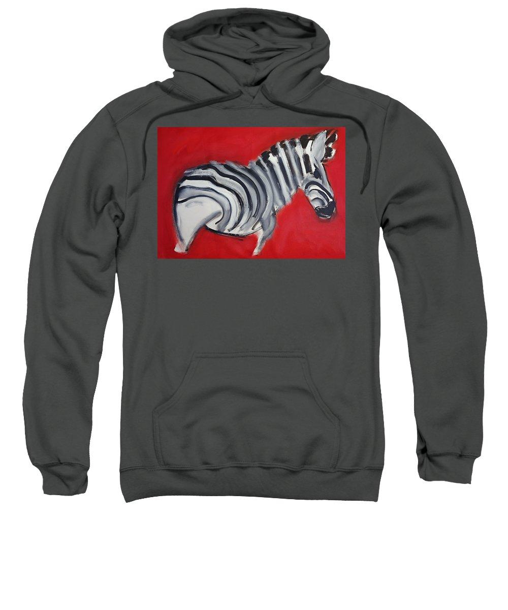 Zebra Sweatshirt featuring the painting Zebra by Charles Stuart