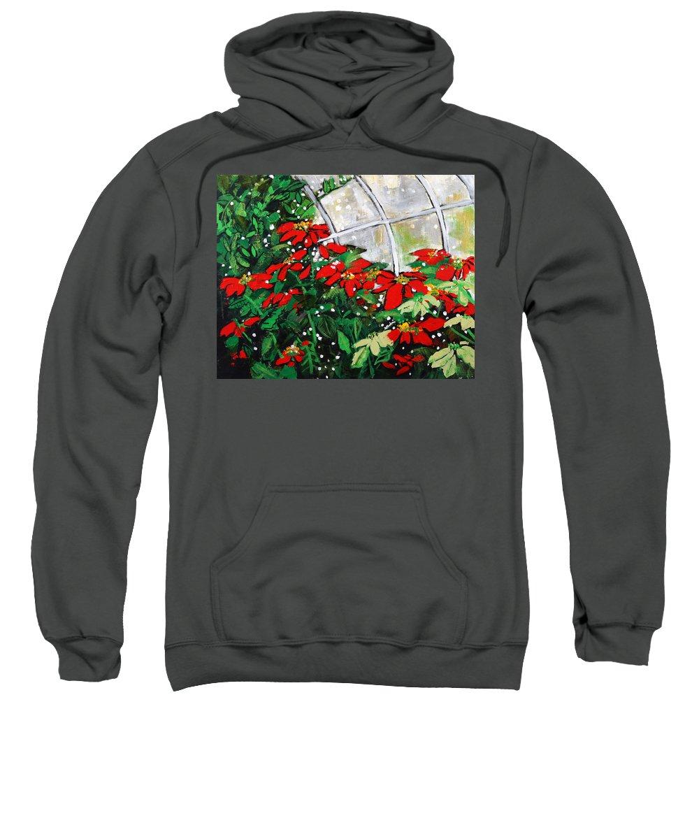 Poinsettias Sweatshirt featuring the painting 2013 010 Poinsettias And Dots Conservatory At The Us Botanic Garden Washington Dc by Alyse Radenovic