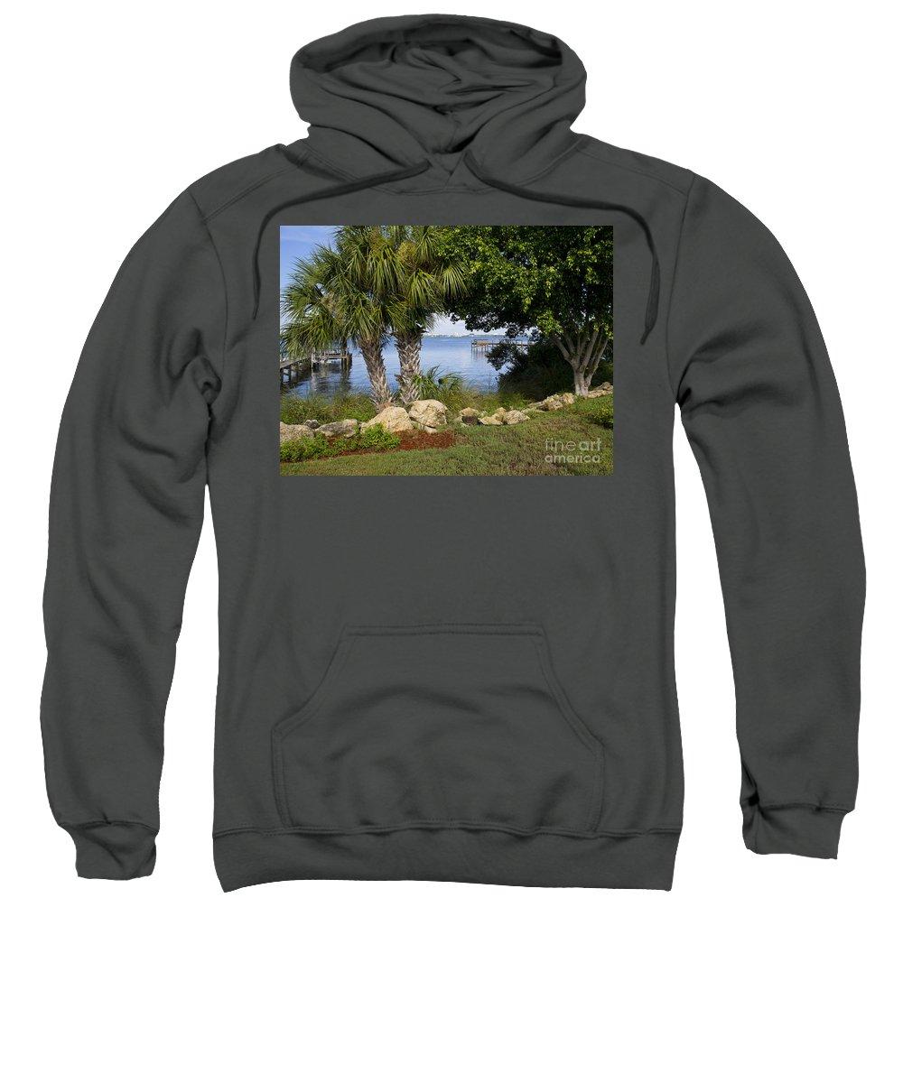 Florida Sweatshirt featuring the photograph Melbourne Beach Pier In Florida by Allan Hughes