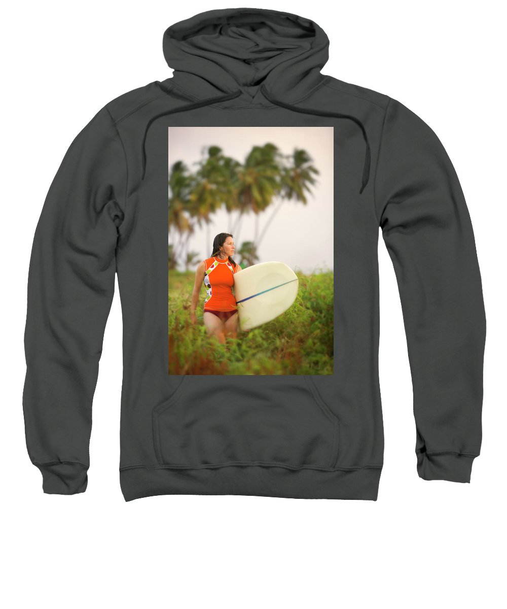 Afternoon Sweatshirt featuring the photograph A Woman Carries A Surfboard To The Beach by Ty Milford