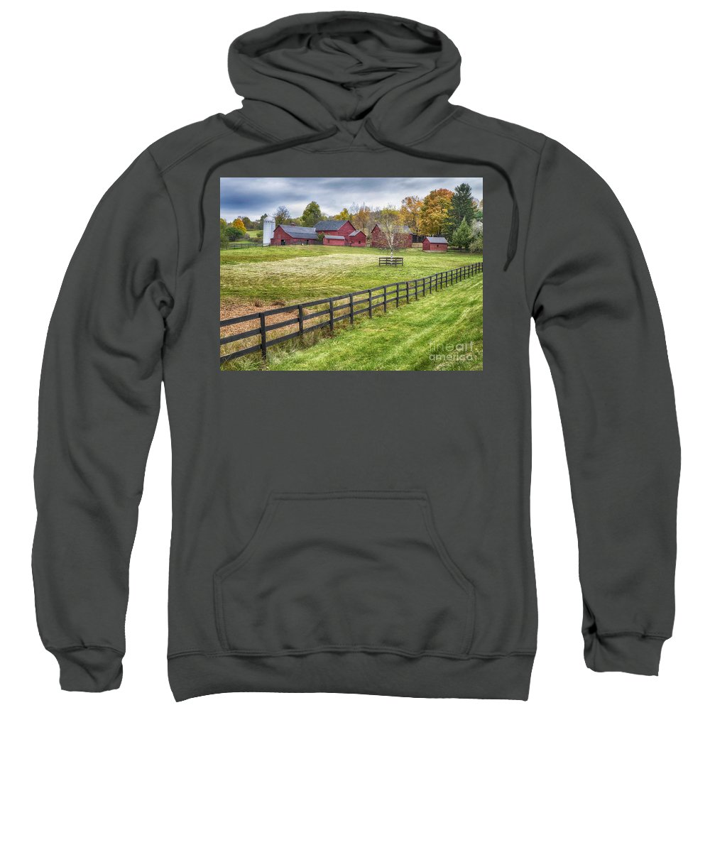 Red Barn Sweatshirt featuring the photograph Beyond The Fence by Claudia Kuhn
