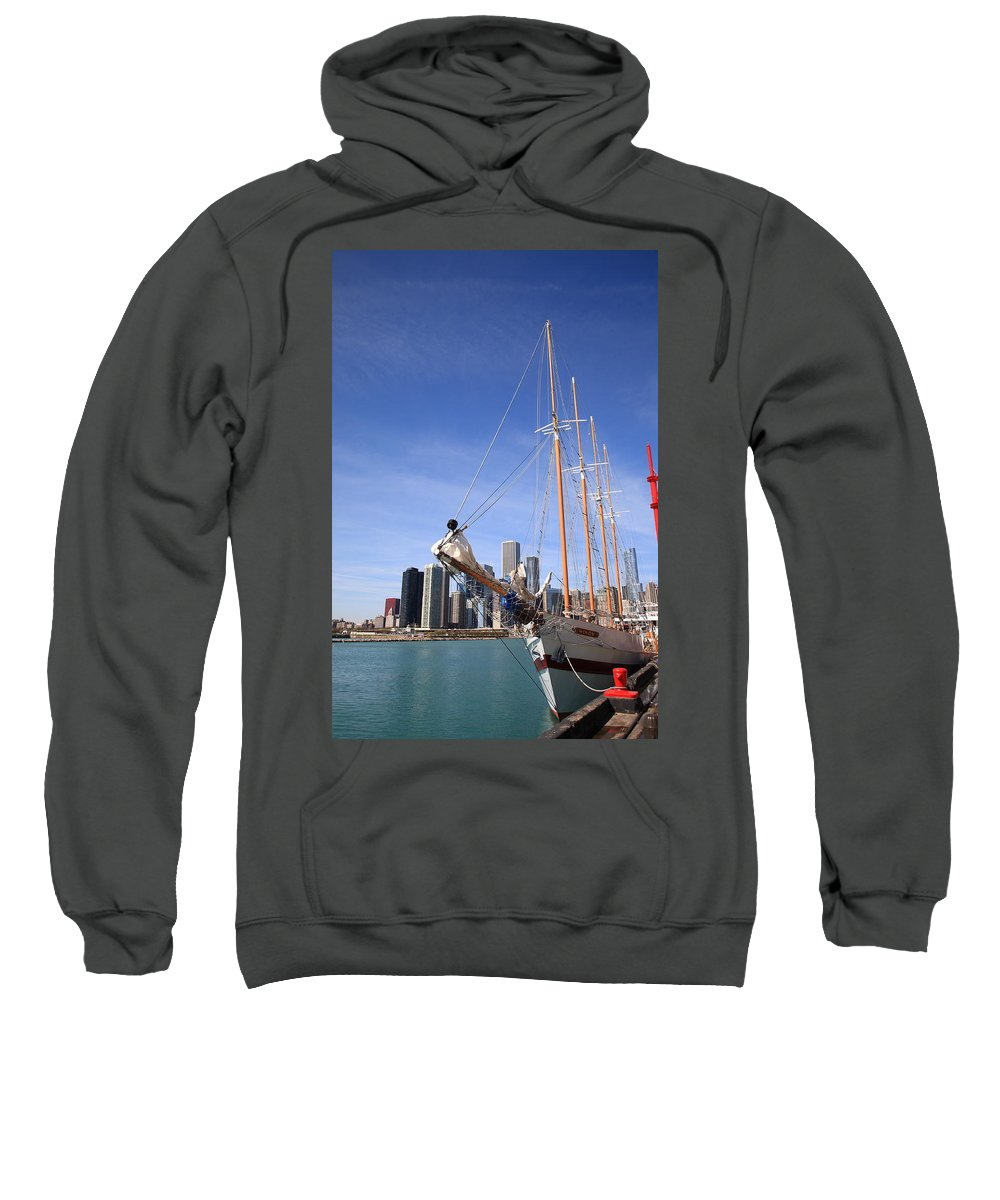 America Sweatshirt featuring the photograph Chicago Skyline And Tall Ship by Frank Romeo