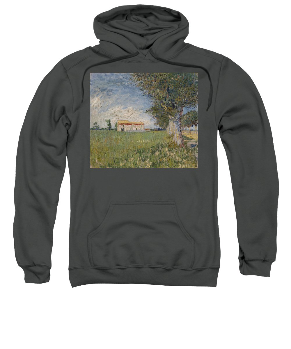 Vincent Van Gogh Sweatshirt featuring the painting Farmhouse In A Wheat Field by Vincent Van Gogh