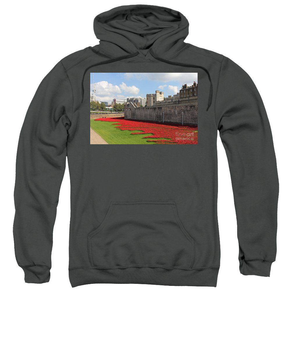 Remembrance Poppies At The Tower Of London Sweatshirt featuring the photograph Remembrance Poppies At The Tower Of London by Julia Gavin